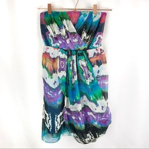 C. LUCE Women's Dress Strapless Watercolor Mini